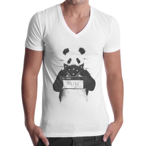 T-Shirt Uomo Scollo V PANDA WANTED 1