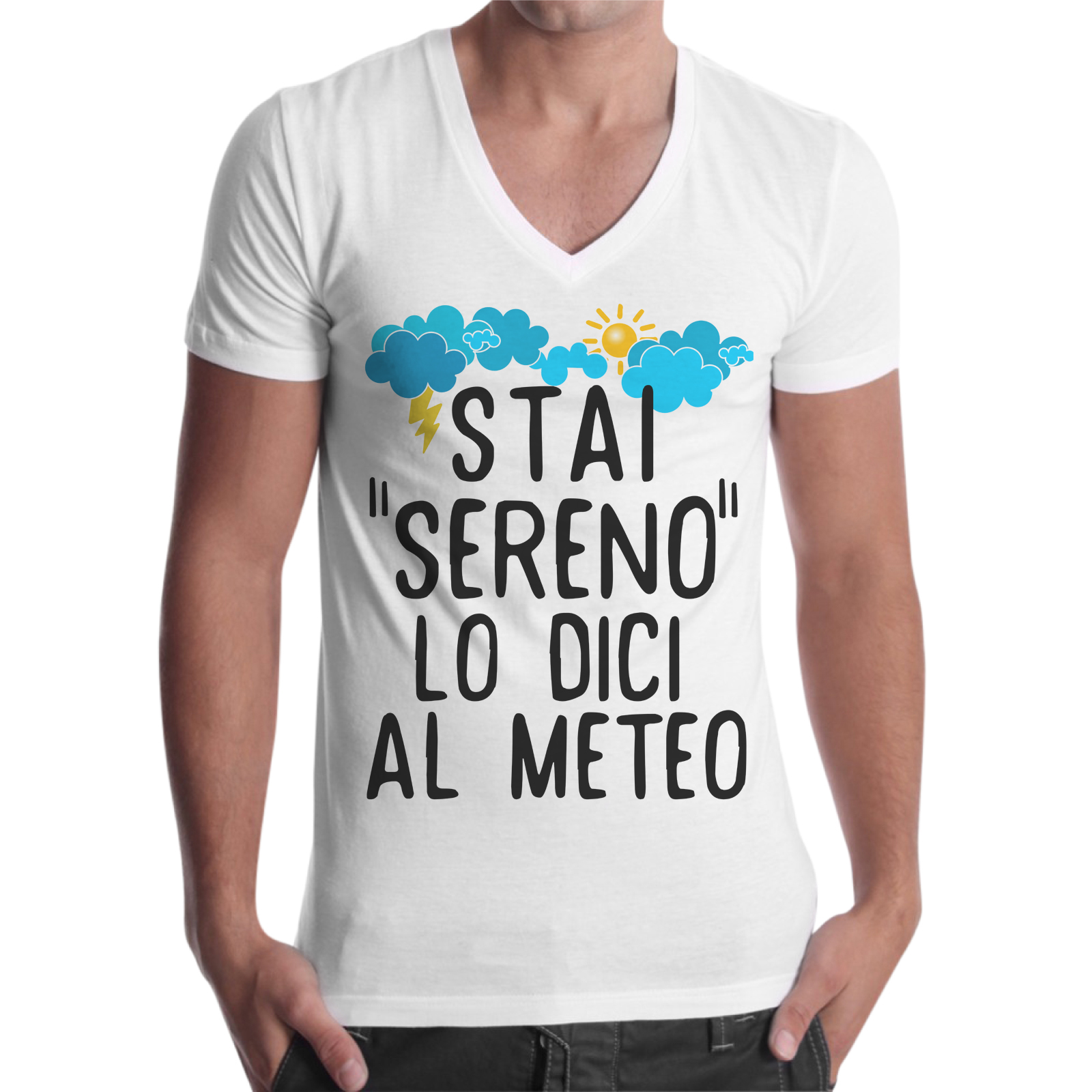 T-Shirt Uomo Scollo V STAI SERENO 1