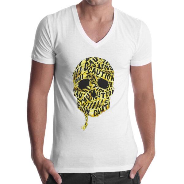 T-Shirt Uomo Scollo V SKULL CAUTION 1