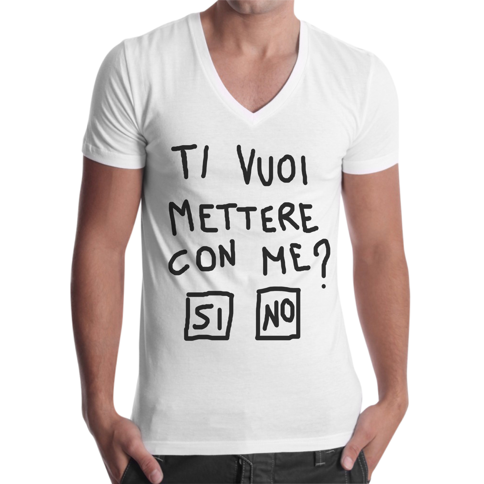 T-Shirt Uomo Scollo V TI VUOI METTERE CON ME