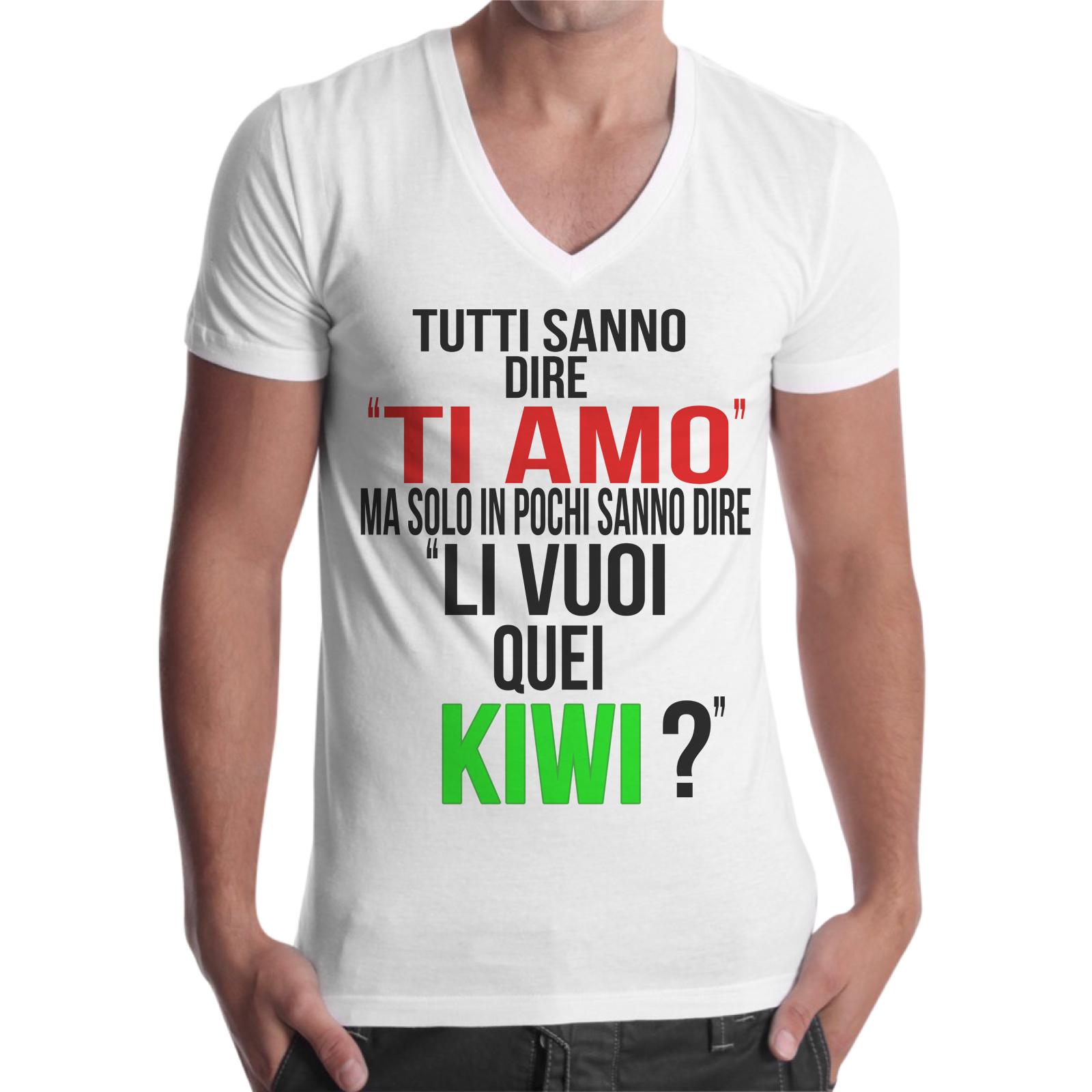 T-Shirt Uomo Scollo V LI VUOI QUEI KIWI