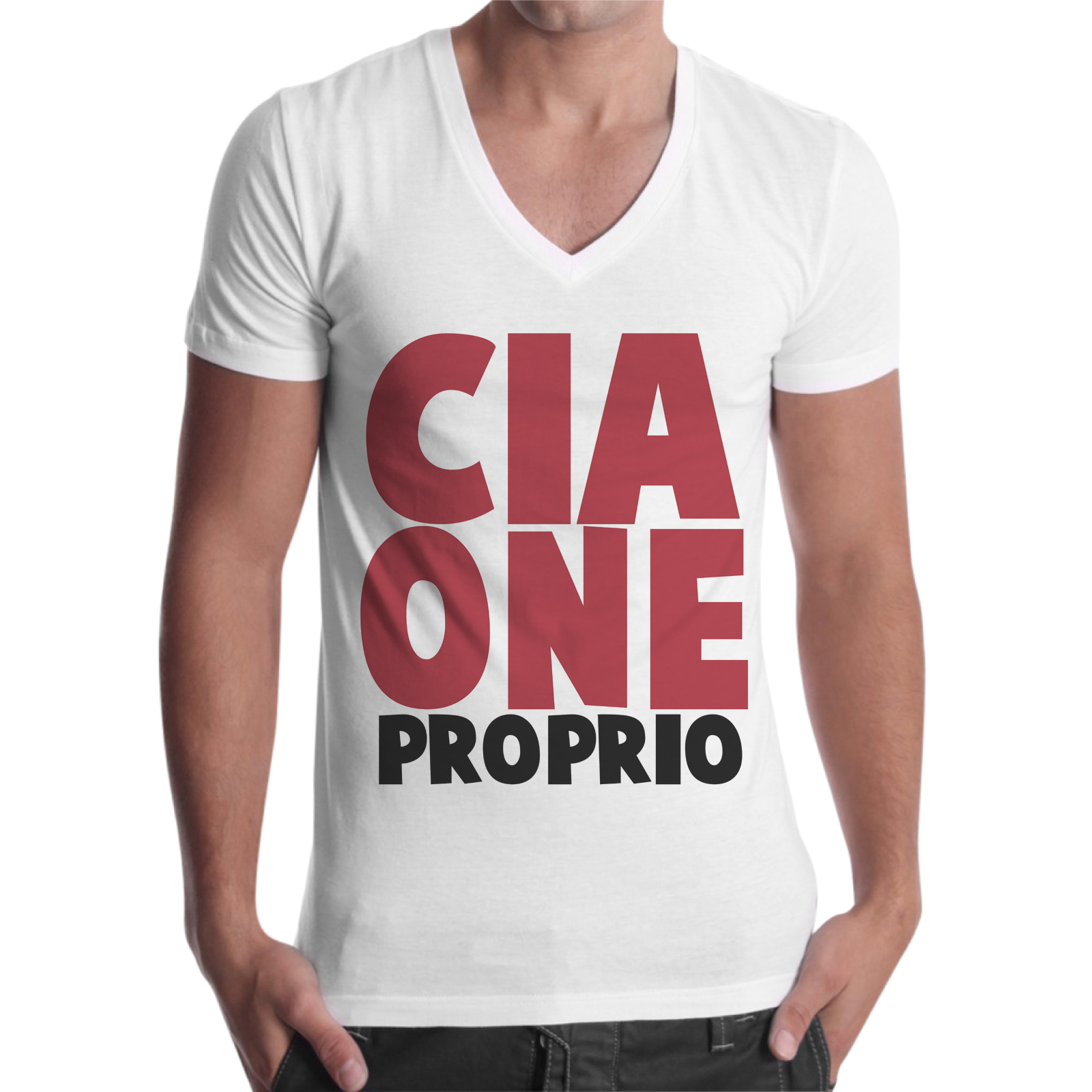 T-Shirt Uomo Scollo V CIAONE PROPRIO
