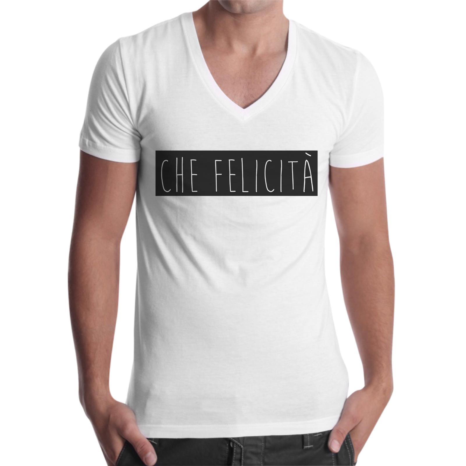 T-Shirt Uomo Scollo V CHE FELICITA'