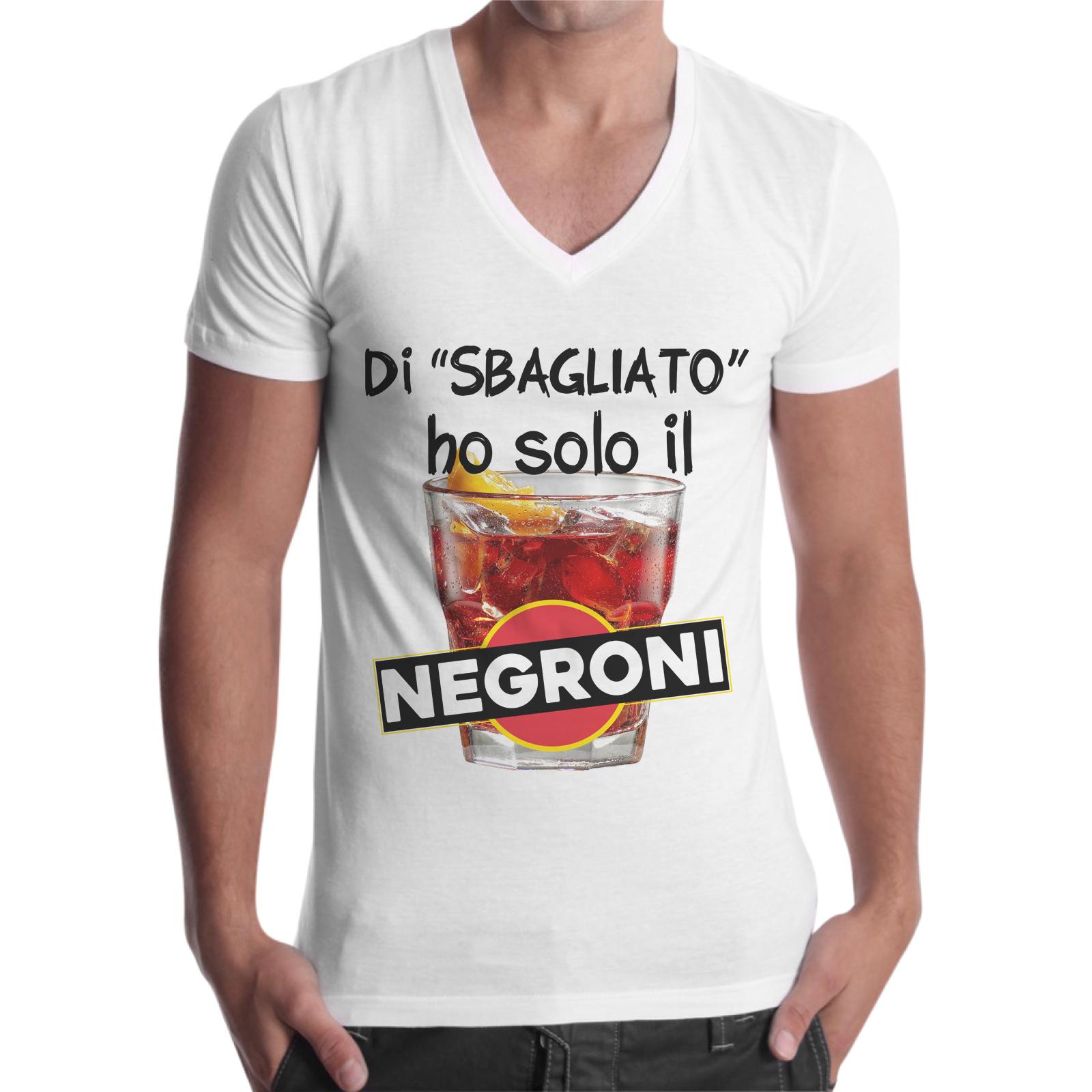 T-Shirt Uomo Scollo V DI SBAGLIATO HO SOLO IL NEGRONI