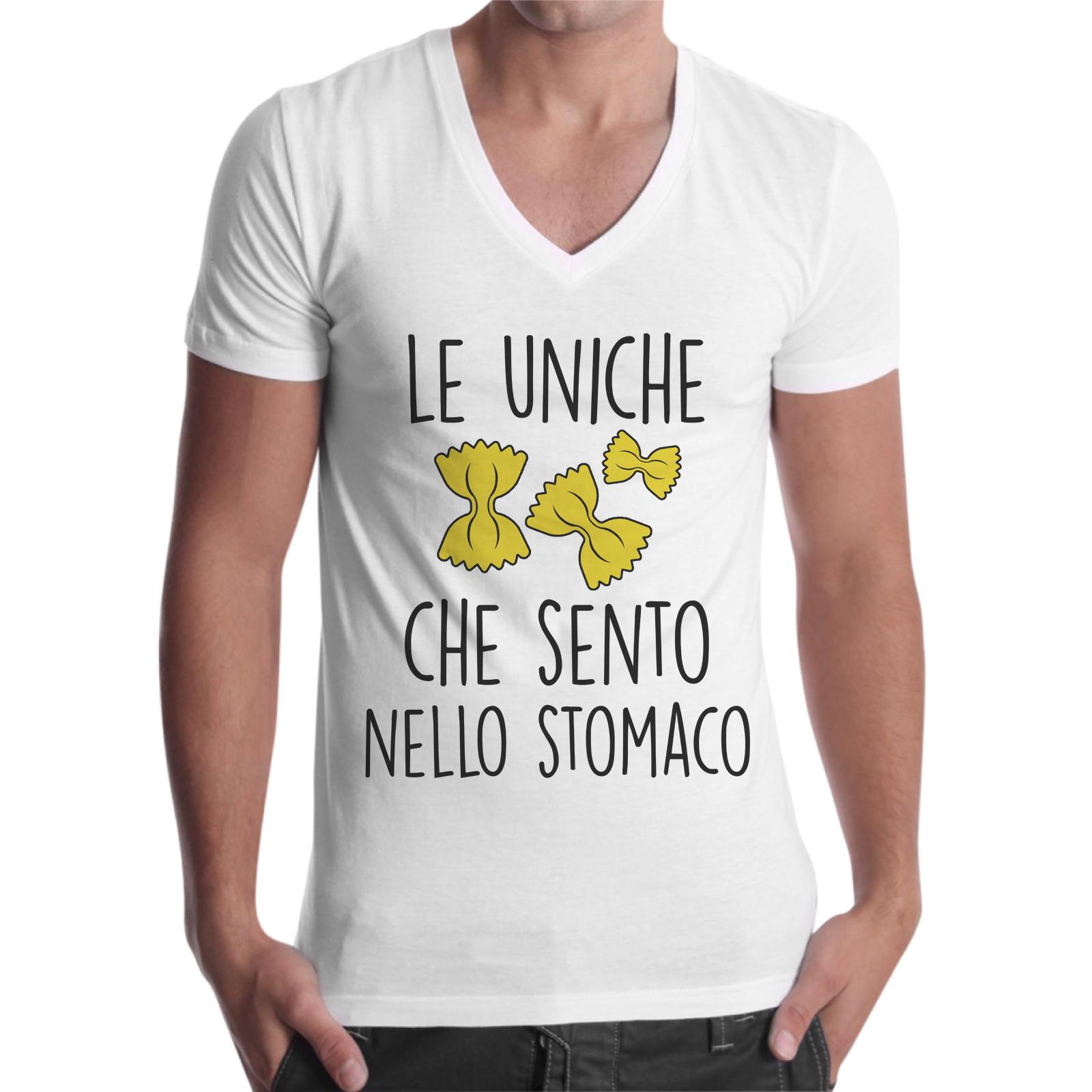 T-Shirt Uomo Scollo V LE FARFALLE NELLO STOMACO 1