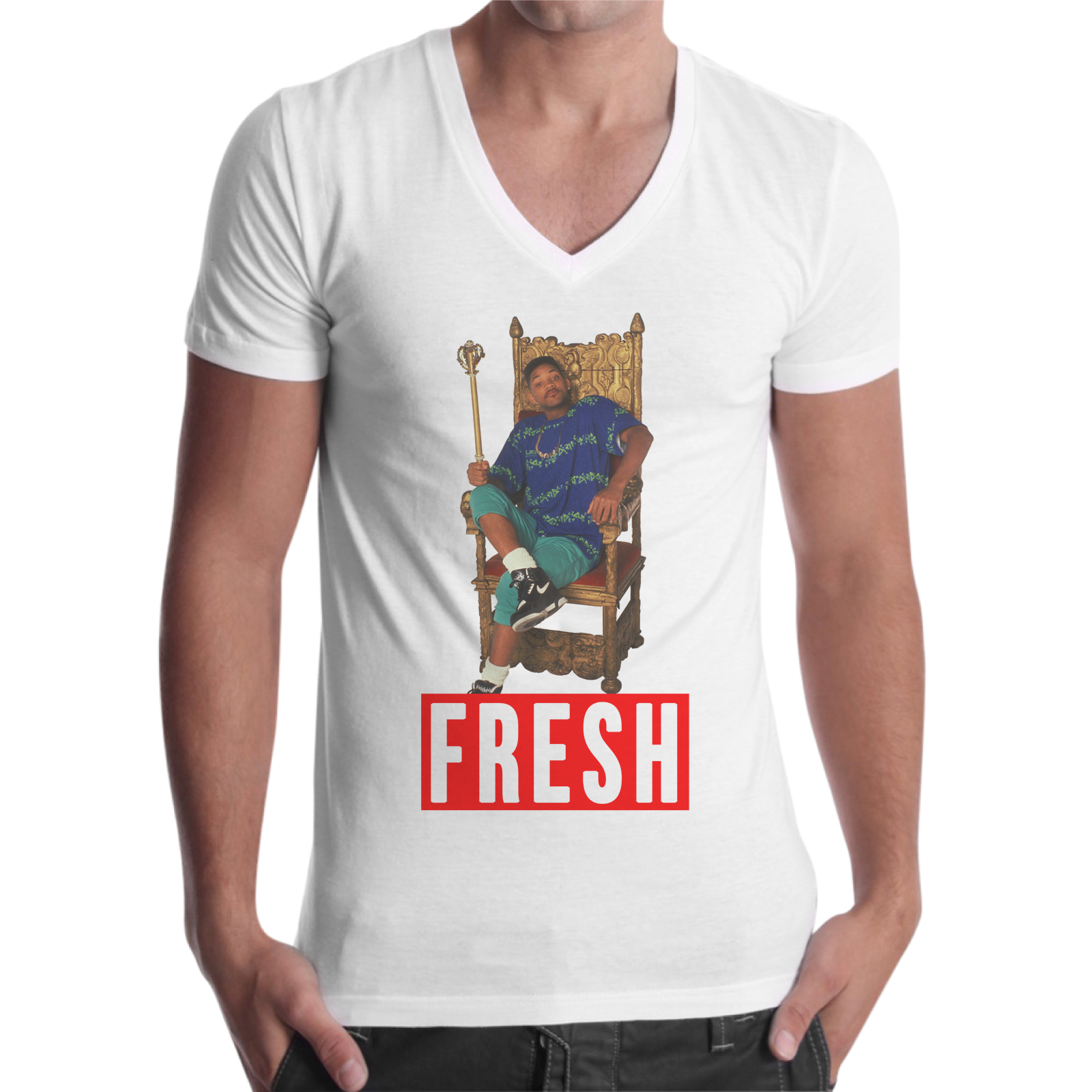 T-Shirt Uomo Scollo V FRESH WILLY
