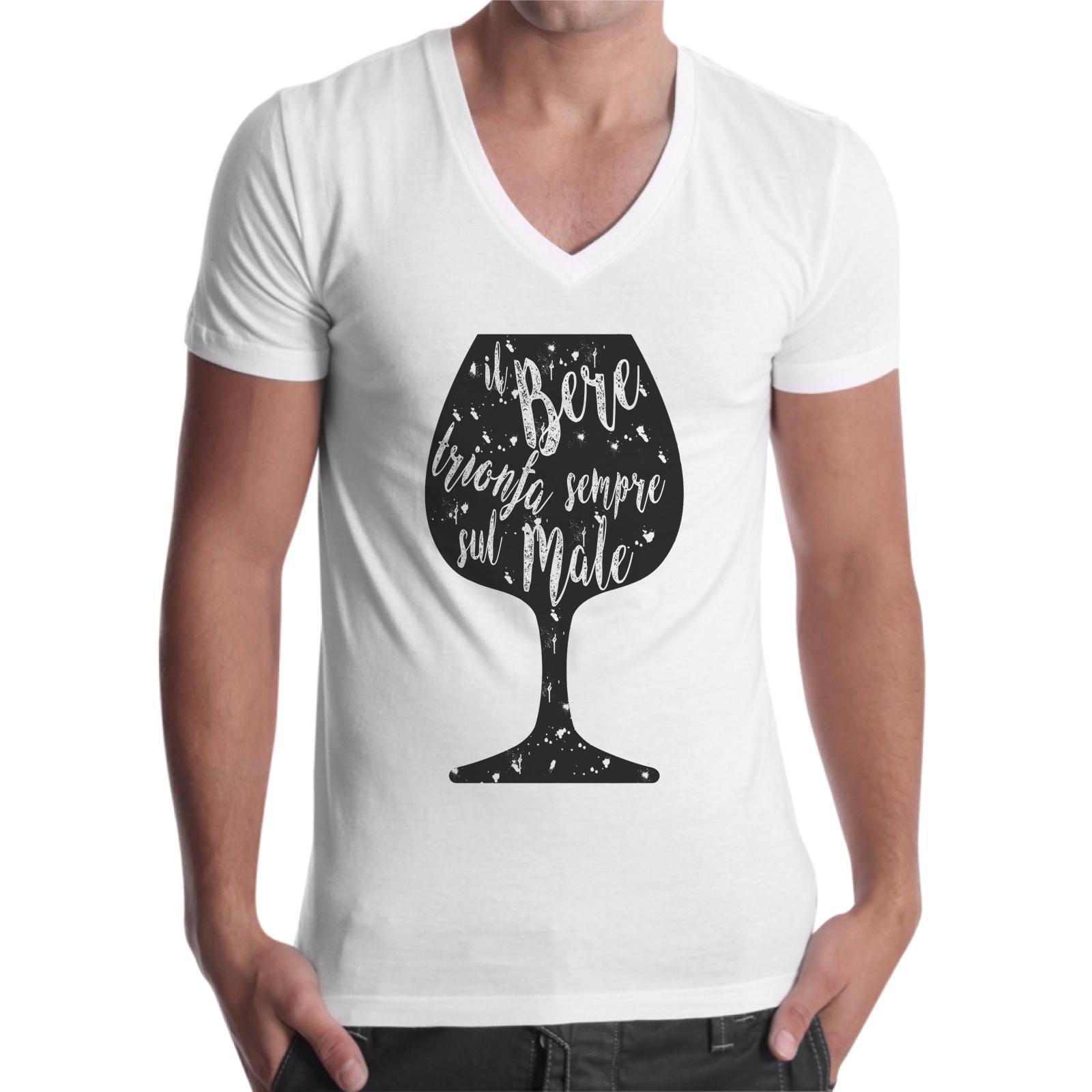 T-Shirt Uomo Scollo V IL BERE TRIONFA