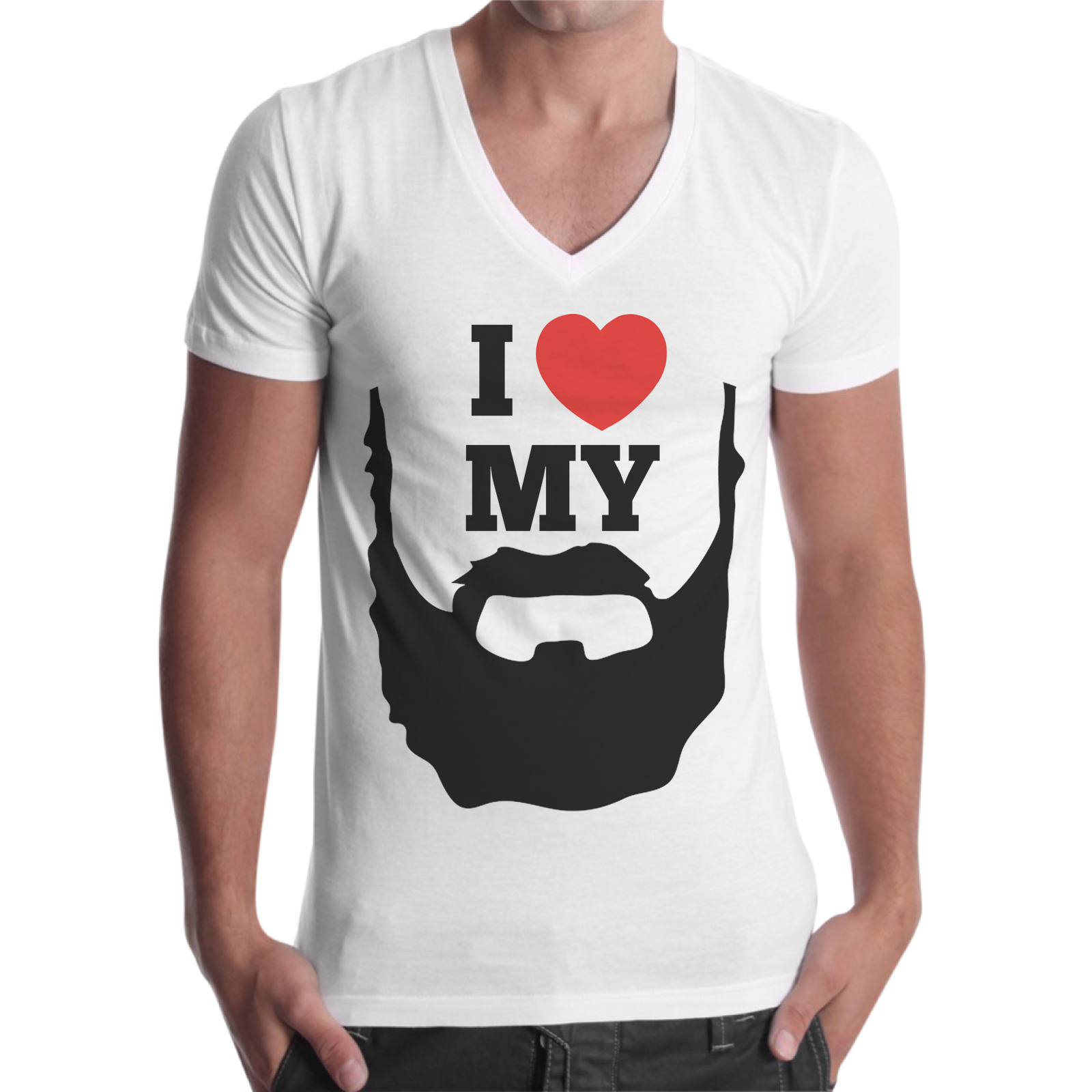 T-Shirt Uomo Scollo V I LOVE MY BEARD 1