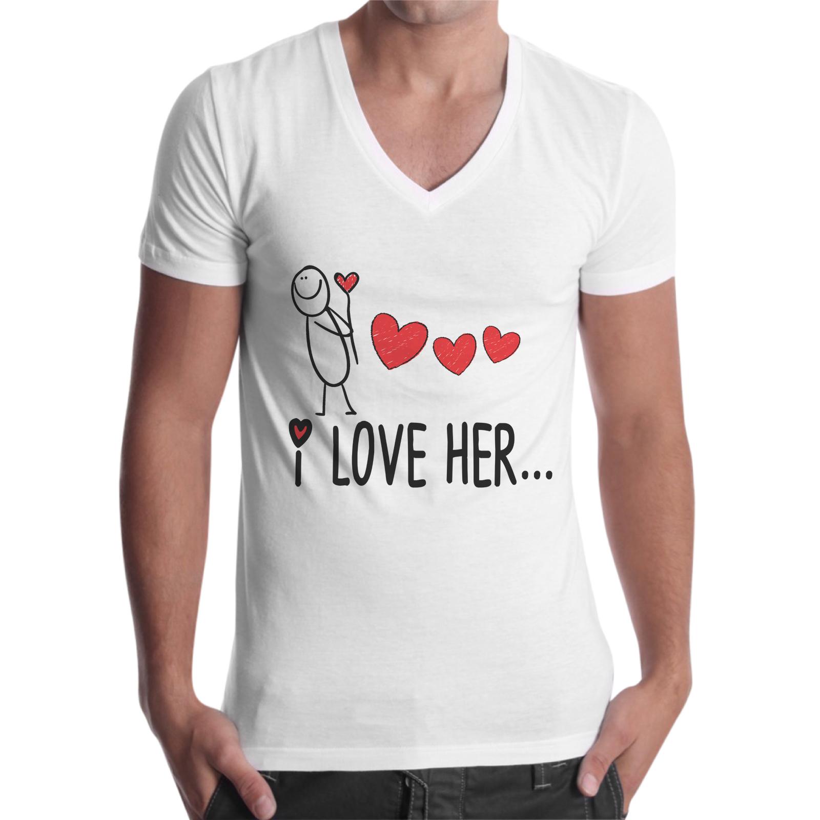 T-Shirt Uomo Scollo V I LOVE HER 1