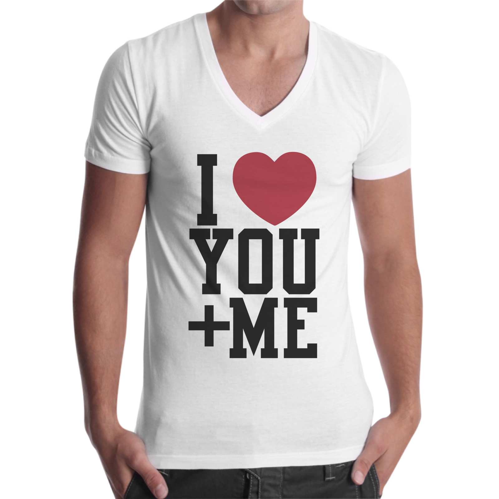 T-Shirt Uomo Scollo V I LOVE YOU + ME