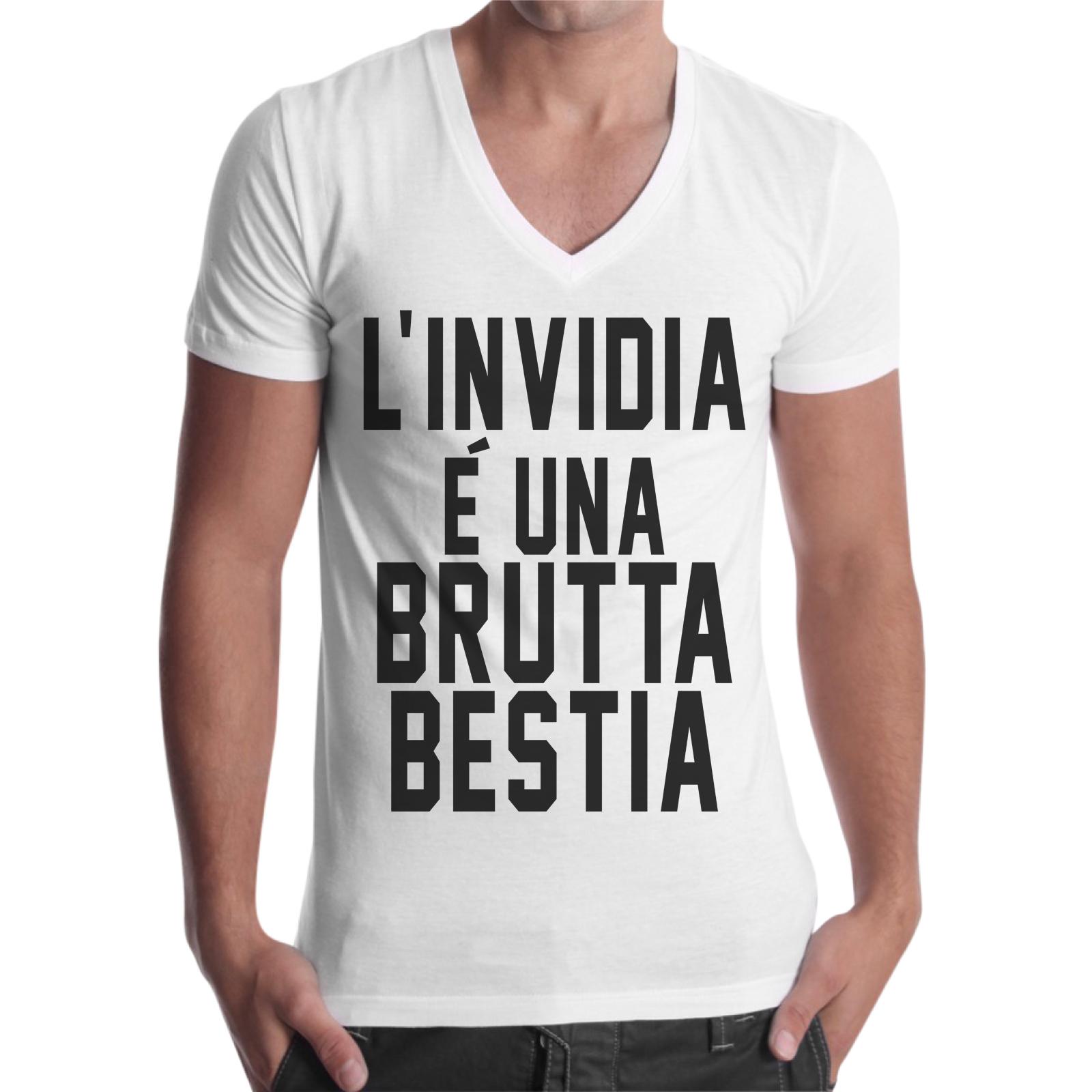 T-Shirt Uomo Scollo V L'INVIDIA BRUTTA BESTIA