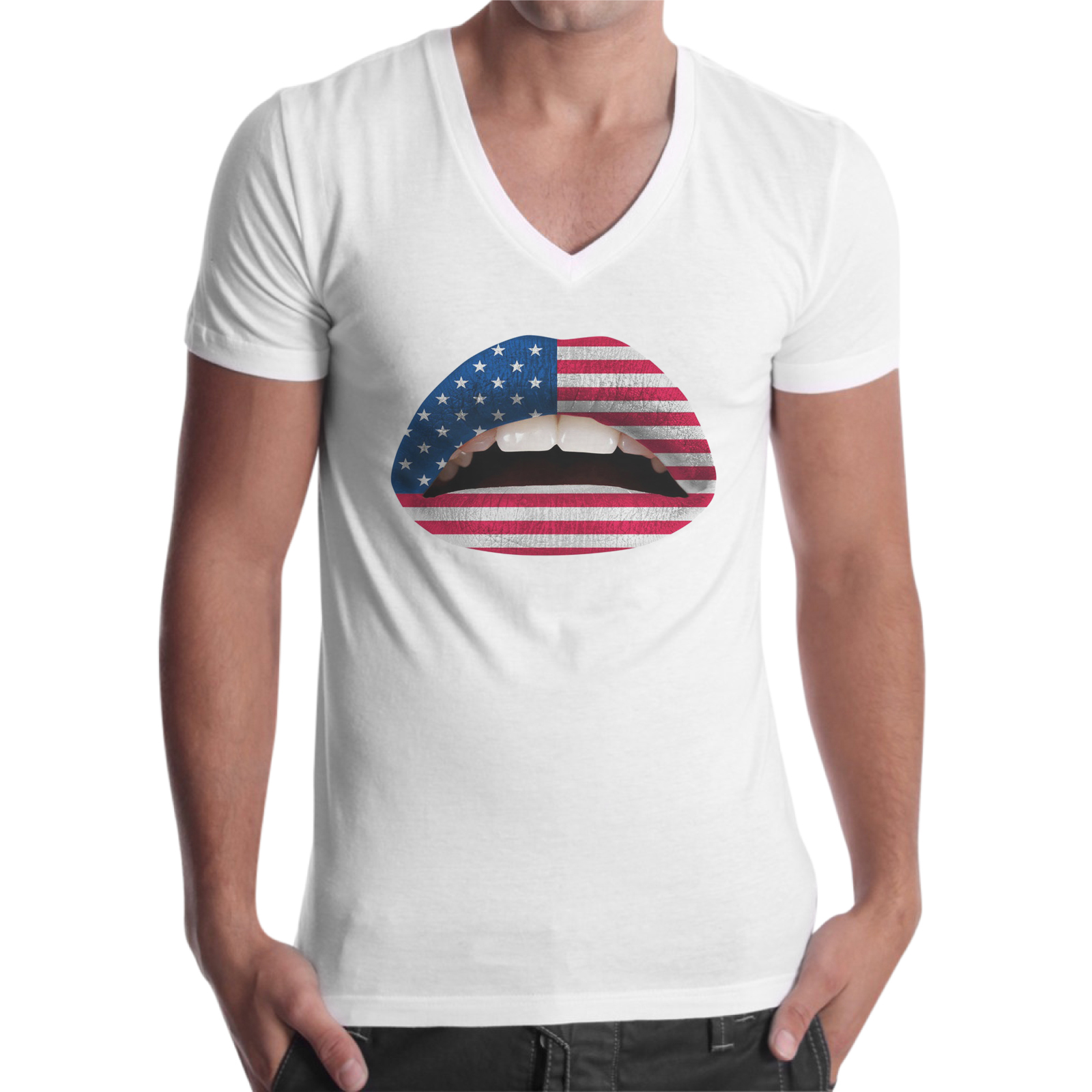 T-Shirt Uomo Scollo V USA LIPS