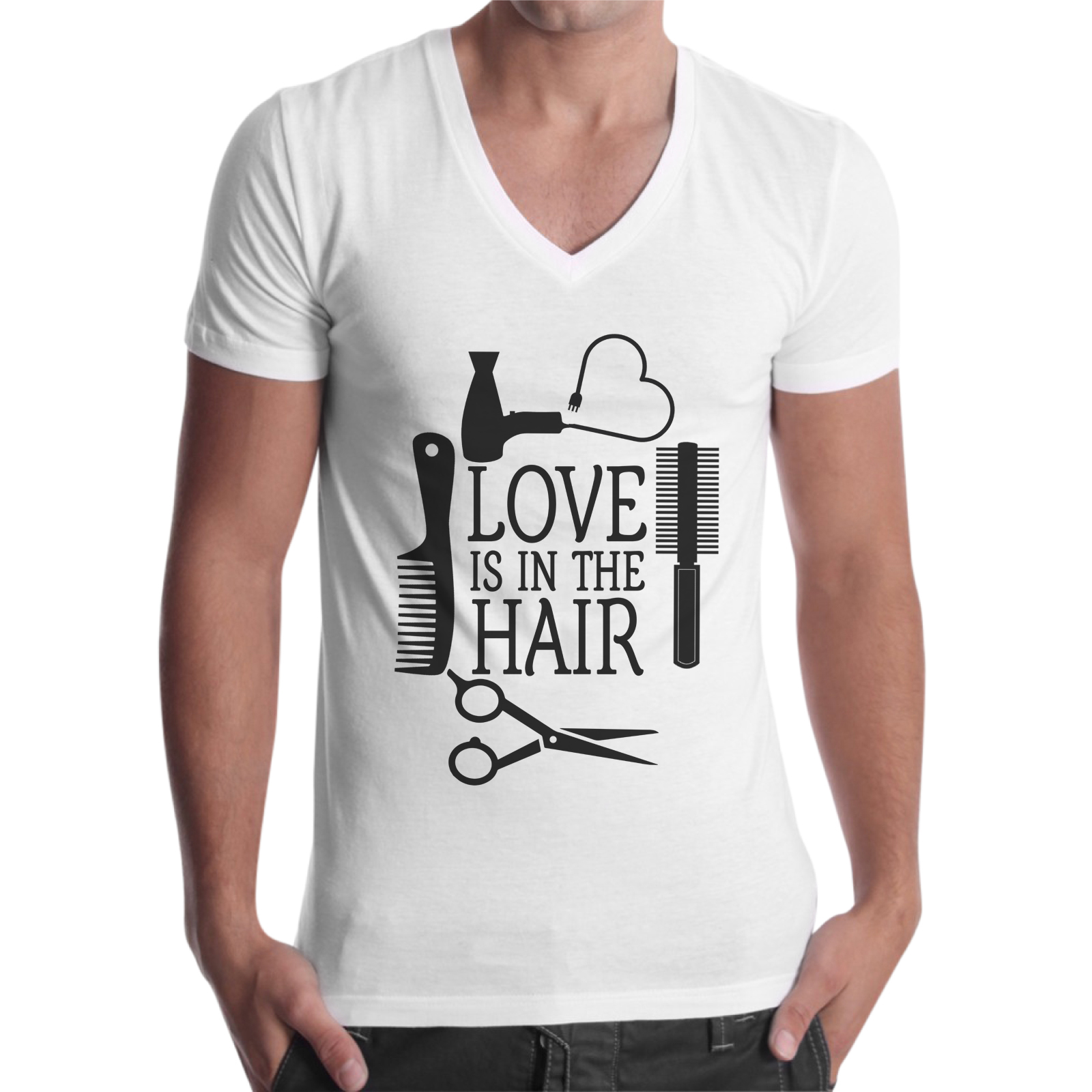 T-Shirt Uomo Scollo V LOVE IN THE HAIR