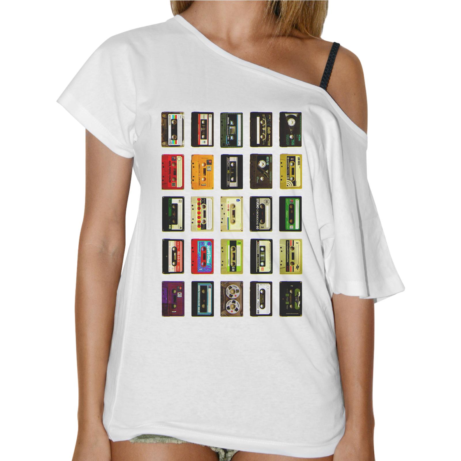 T-Shirt Donna Collo Barca CASSETTE MULTICOLOR