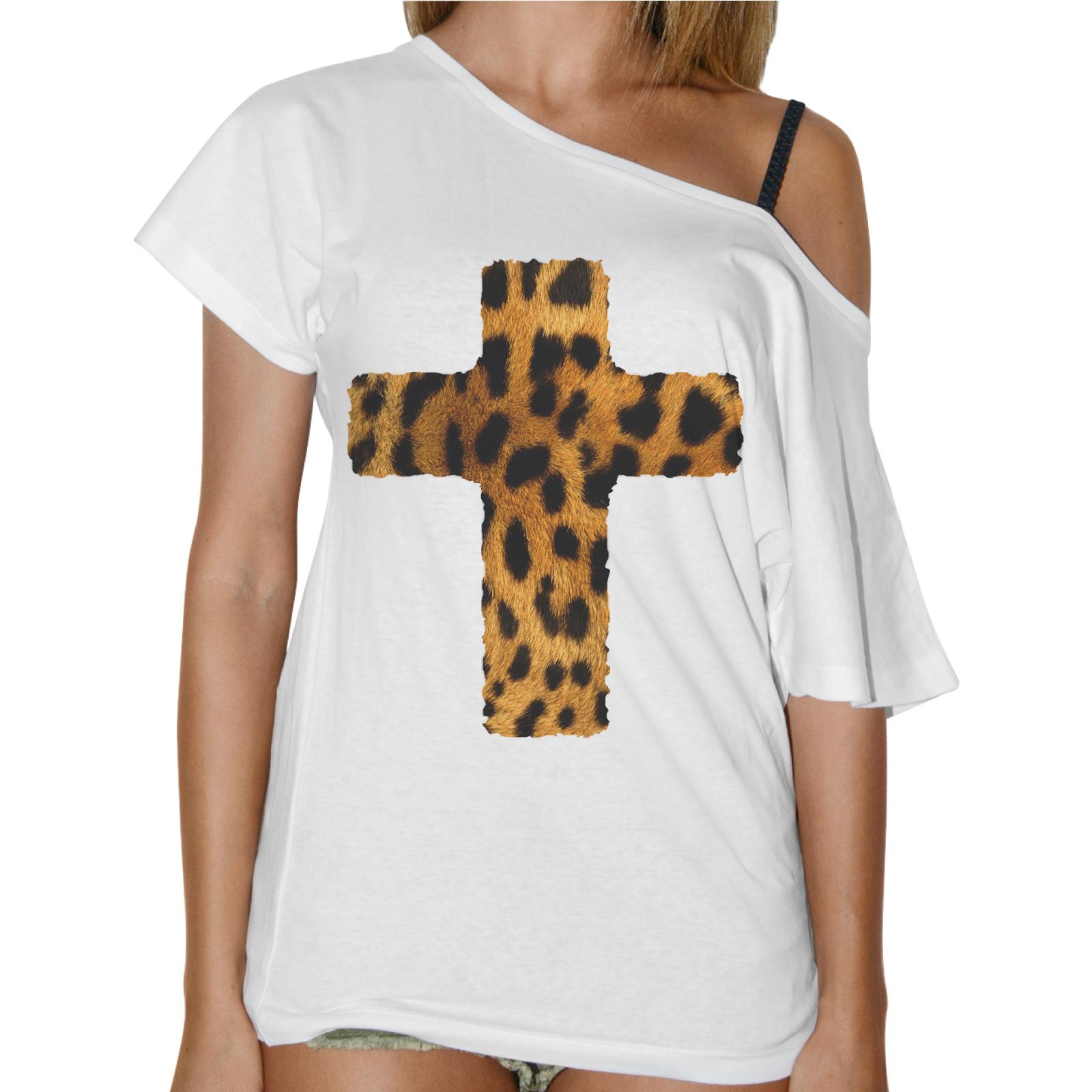 T-Shirt Donna Collo Barca CROCE LEOPARDATA