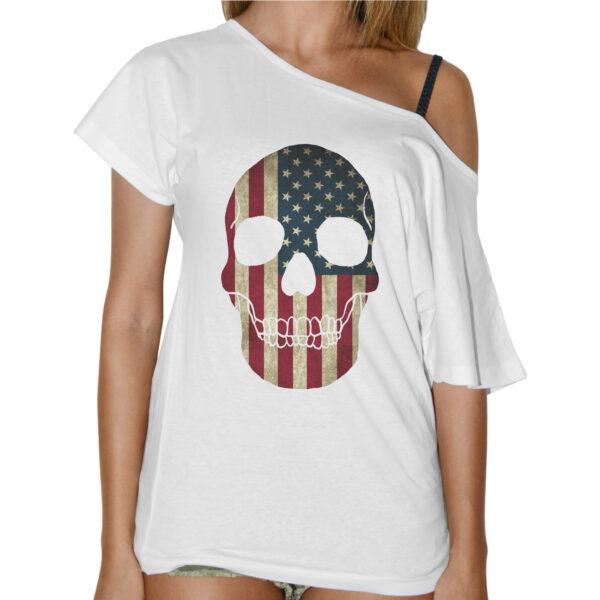 T-Shirt Donna Collo Barca TESCHIO BANDIERA AMERICA