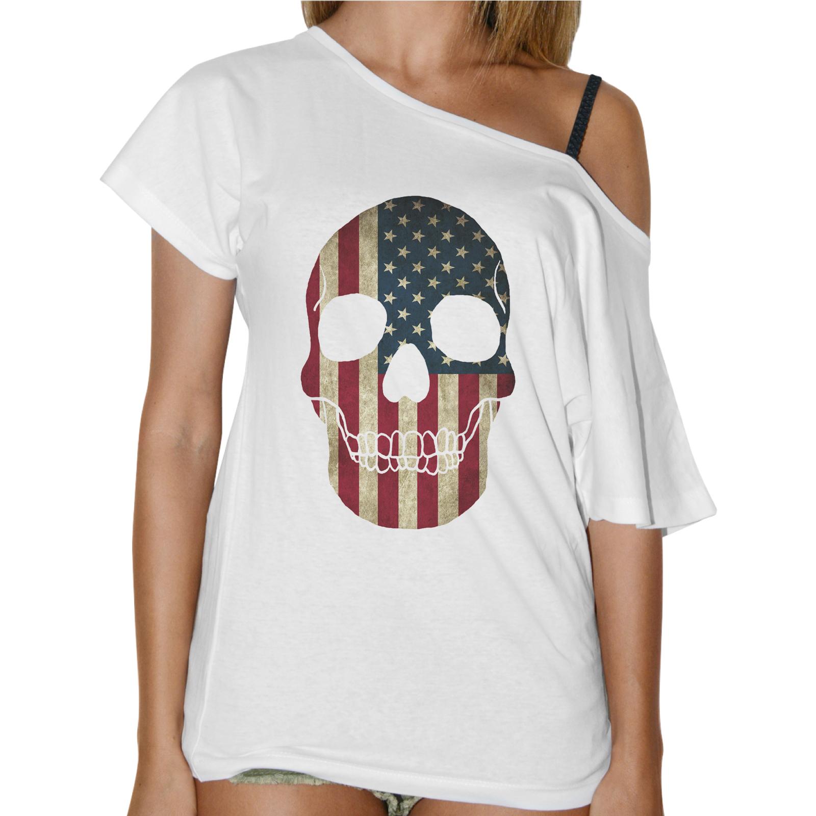 T-Shirt Donna Collo Barca TESCHIO BANDIERA AMERICA 1