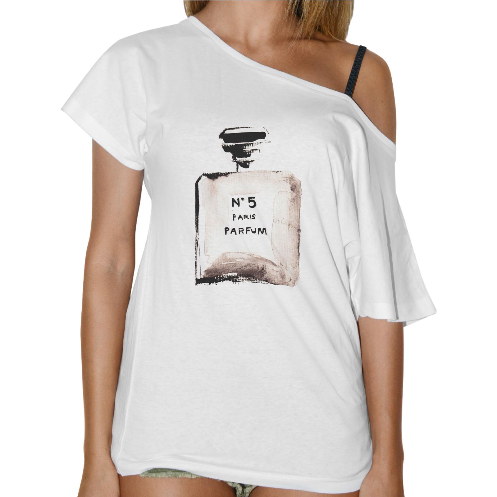 T-Shirt Donna Collo Barca BOTTIGLIA PROFUMO