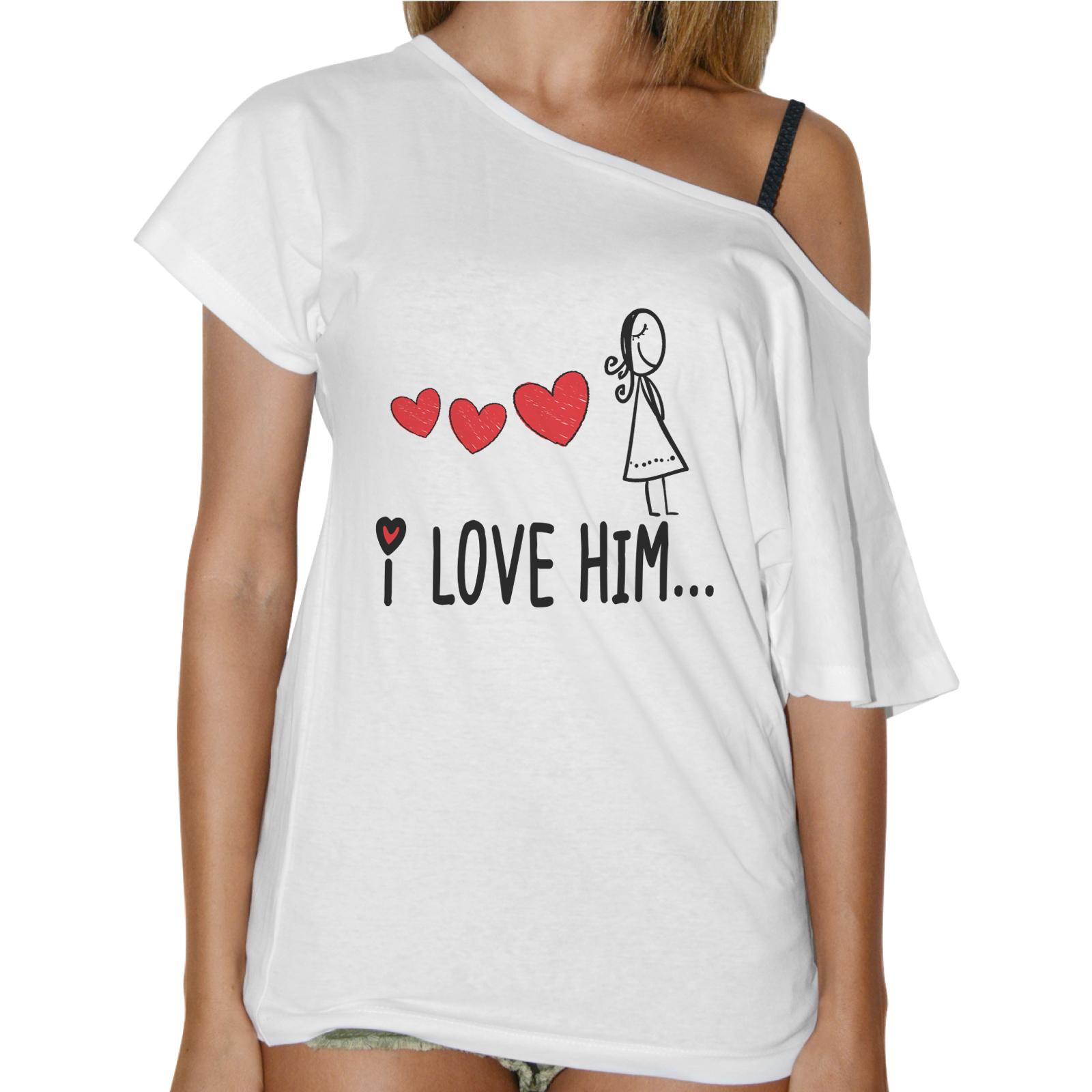 T-Shirt Donna Collo Barca I LOVE HIM