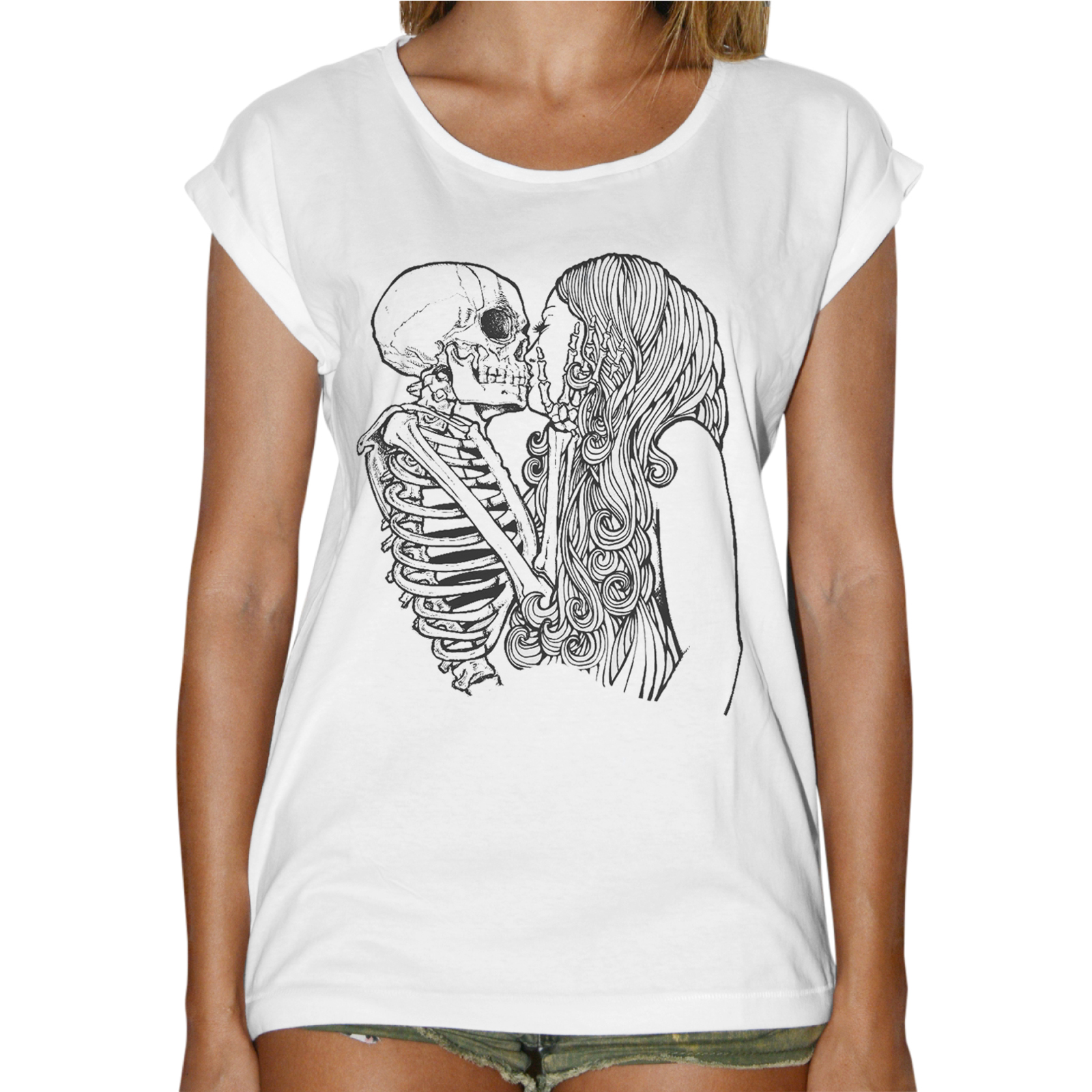 T-Shirt Donna Fashion SKULL KISS GIRL