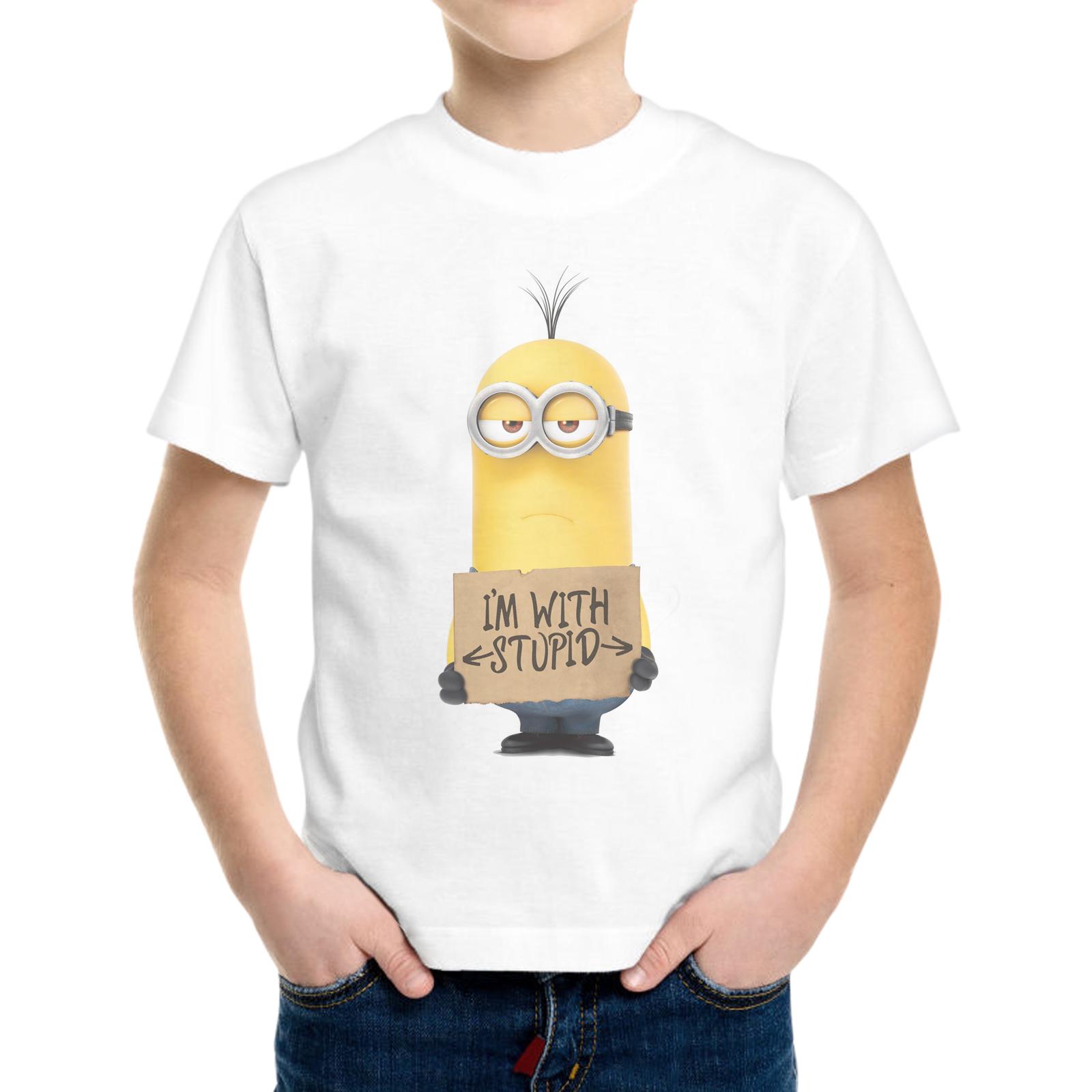 T-Shirt Bambino MINIONS I'M WITH STUPID