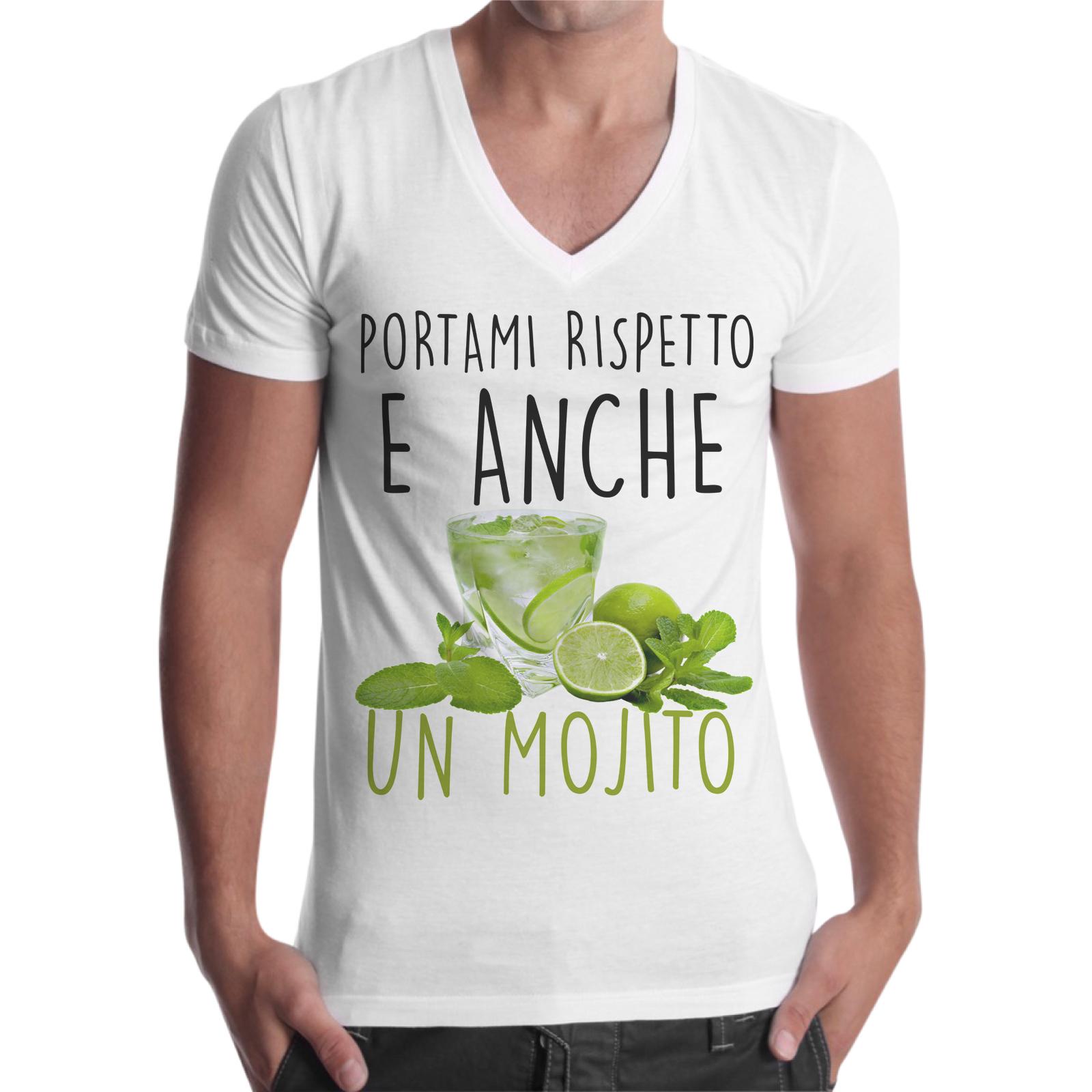 T-Shirt Uomo Scollo V RISPETTO E MOJITO