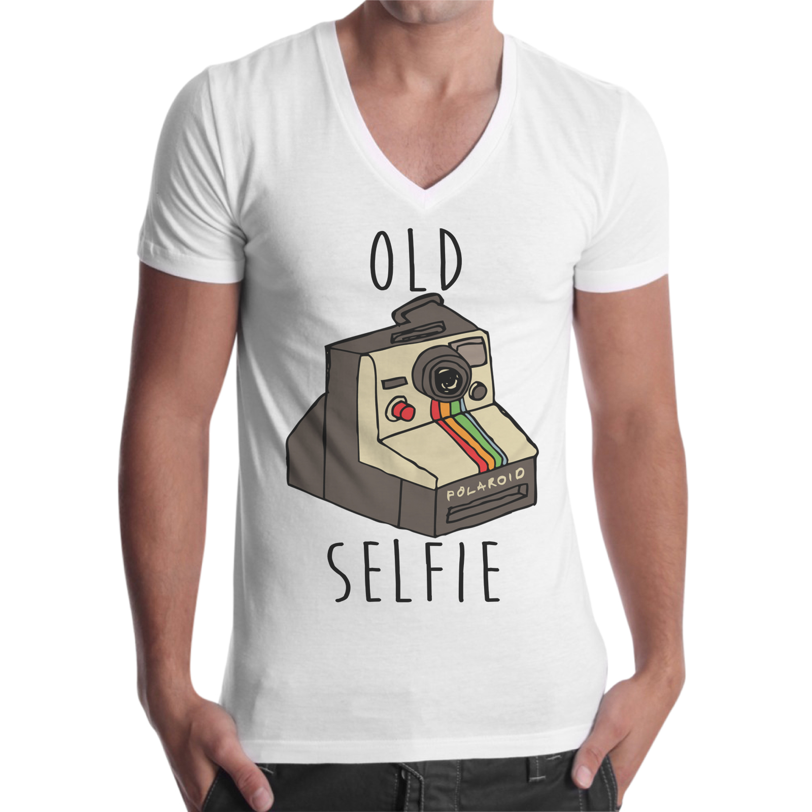 T-Shirt Uomo Scollo V OLD SELFIE 1