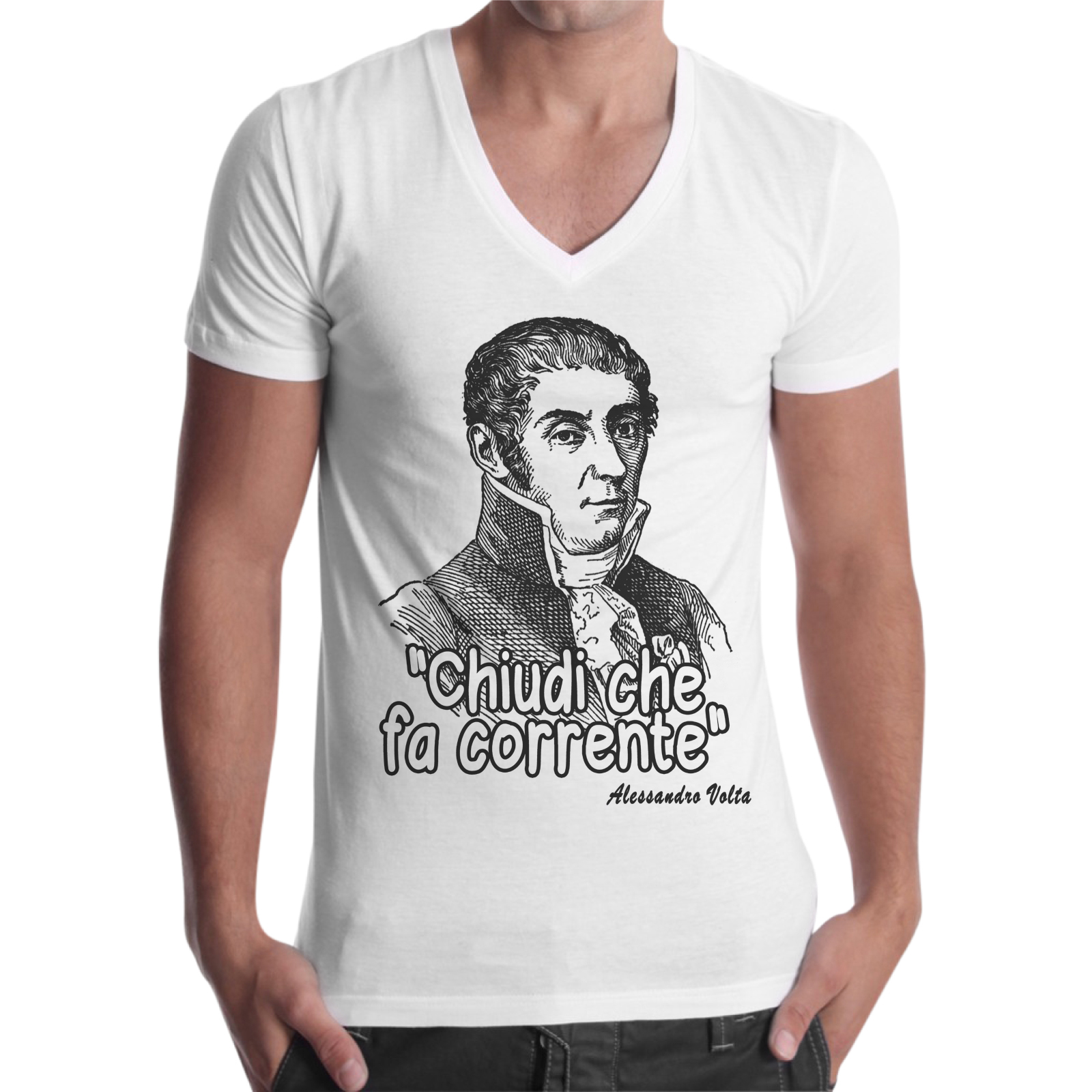T-Shirt Uomo Scollo V CHIUDI CHE FA CORRENTE