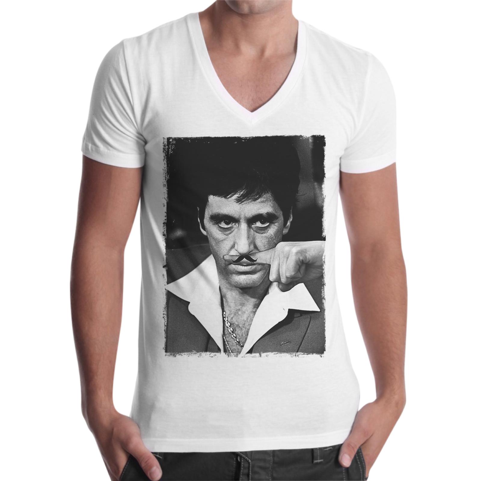 T-Shirt Uomo Scollo V AL PACINO MUSTACHE