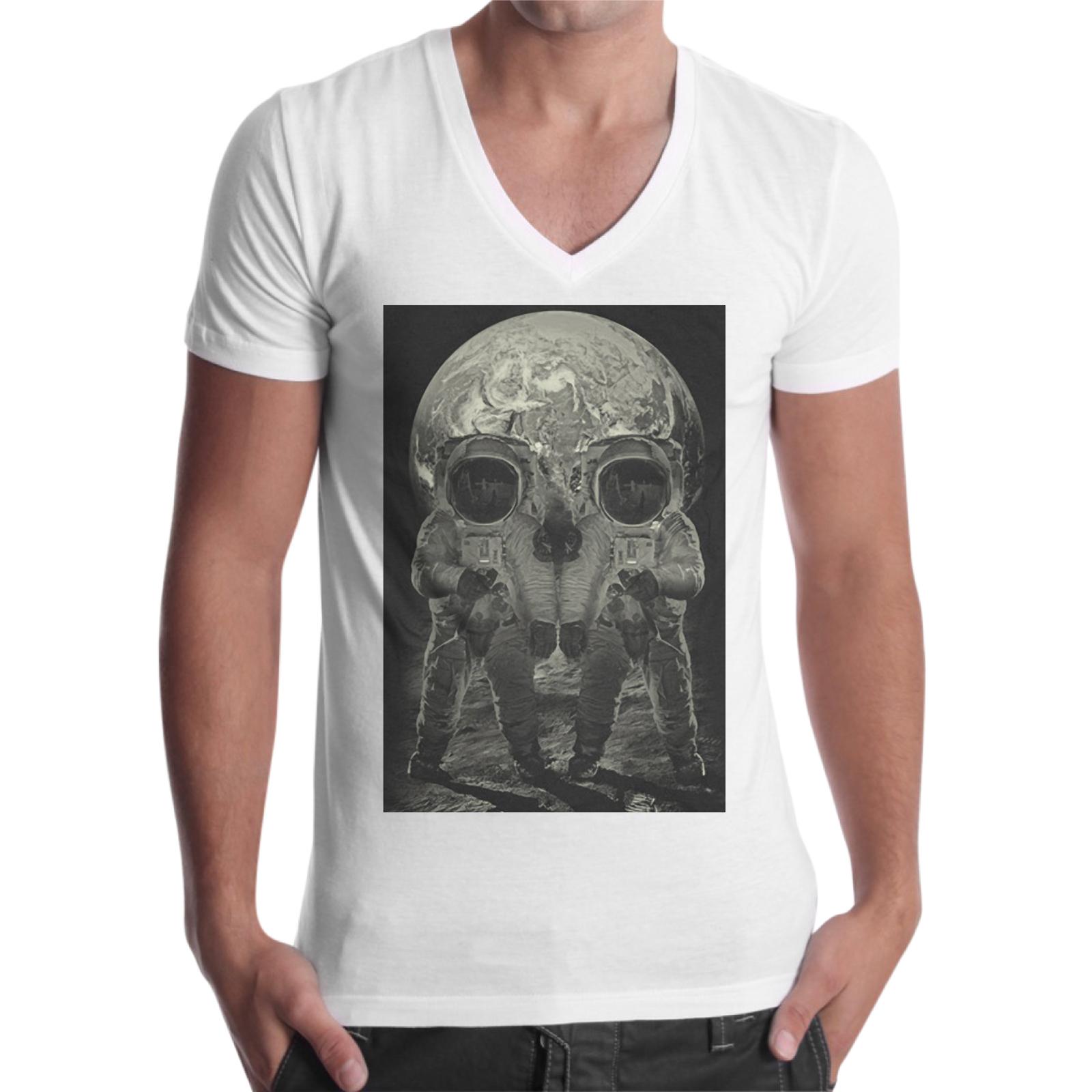 T-Shirt Uomo Scollo V MOON SKULL