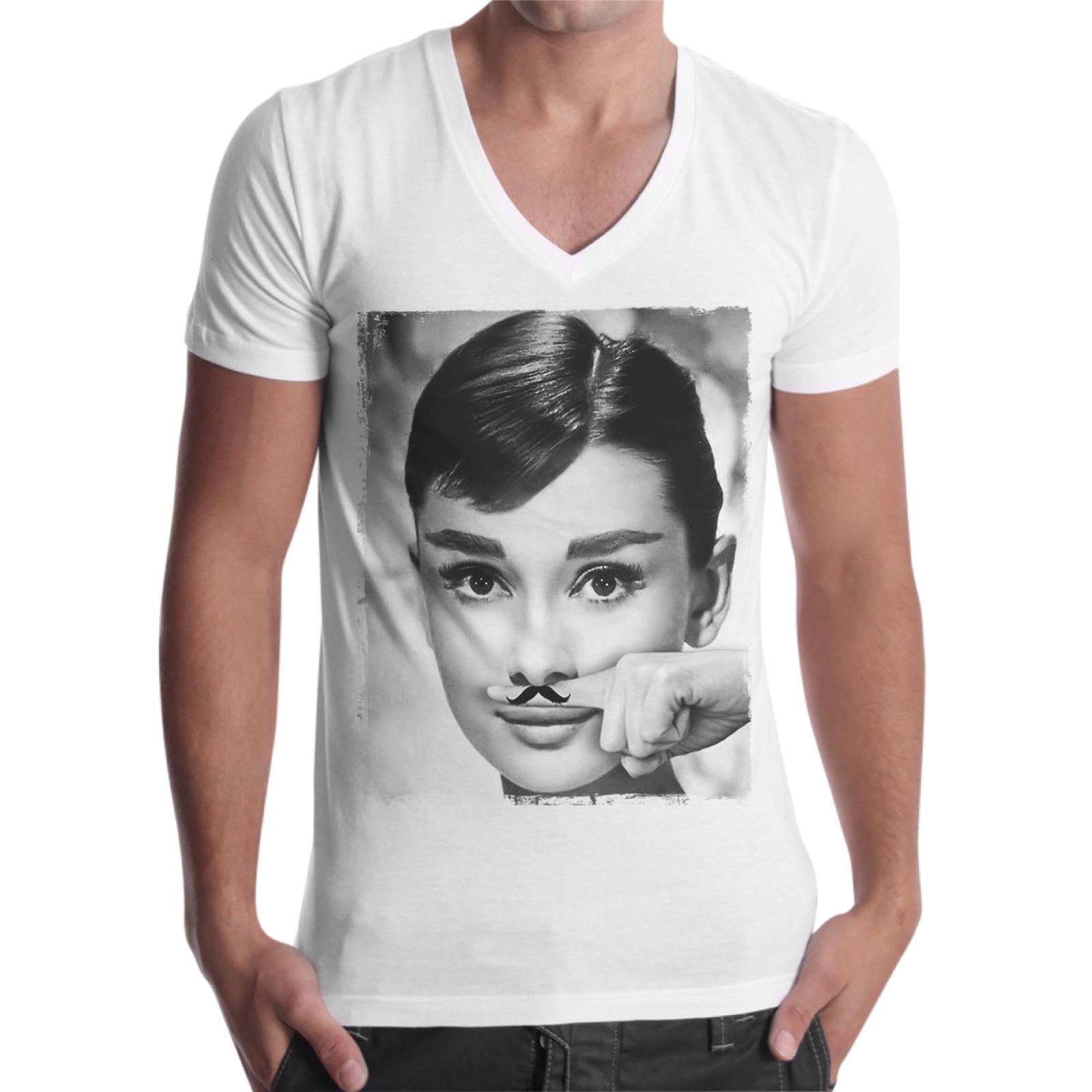 T-Shirt Uomo Scollo V AUDREY MUSTACHE