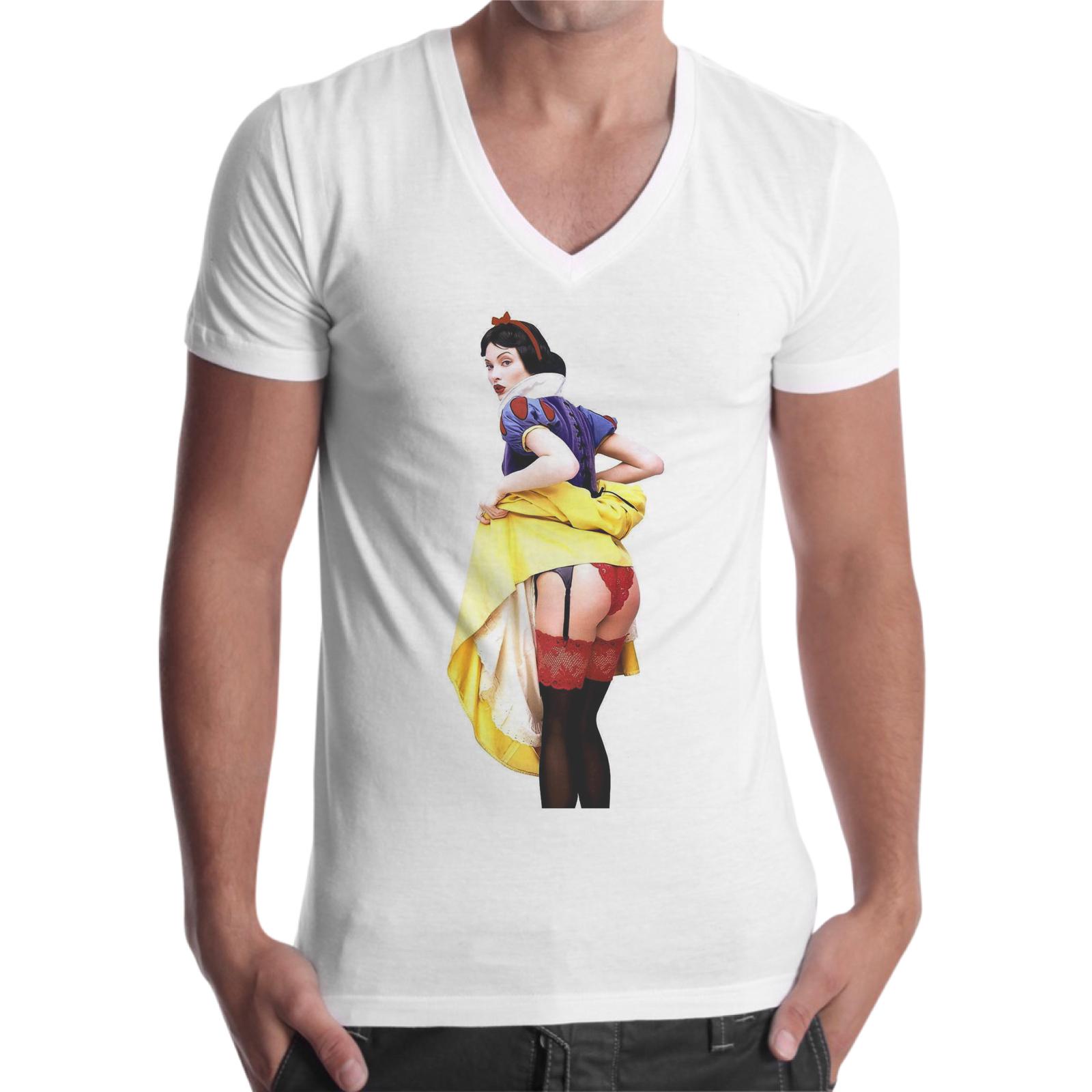 T-Shirt Uomo Scollo V BIANCANEVE SEXY