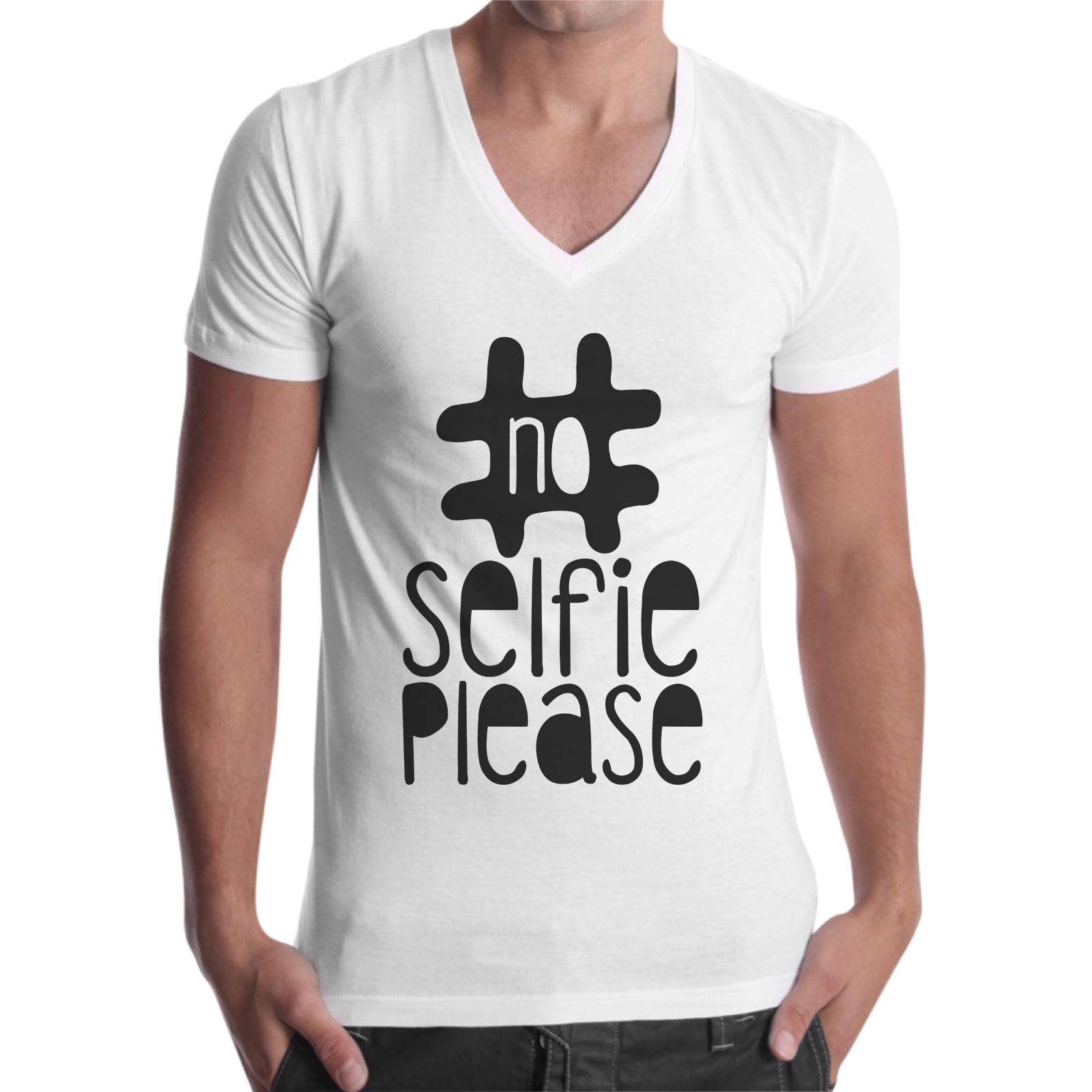 T-Shirt Uomo Scollo V NO SELFIE