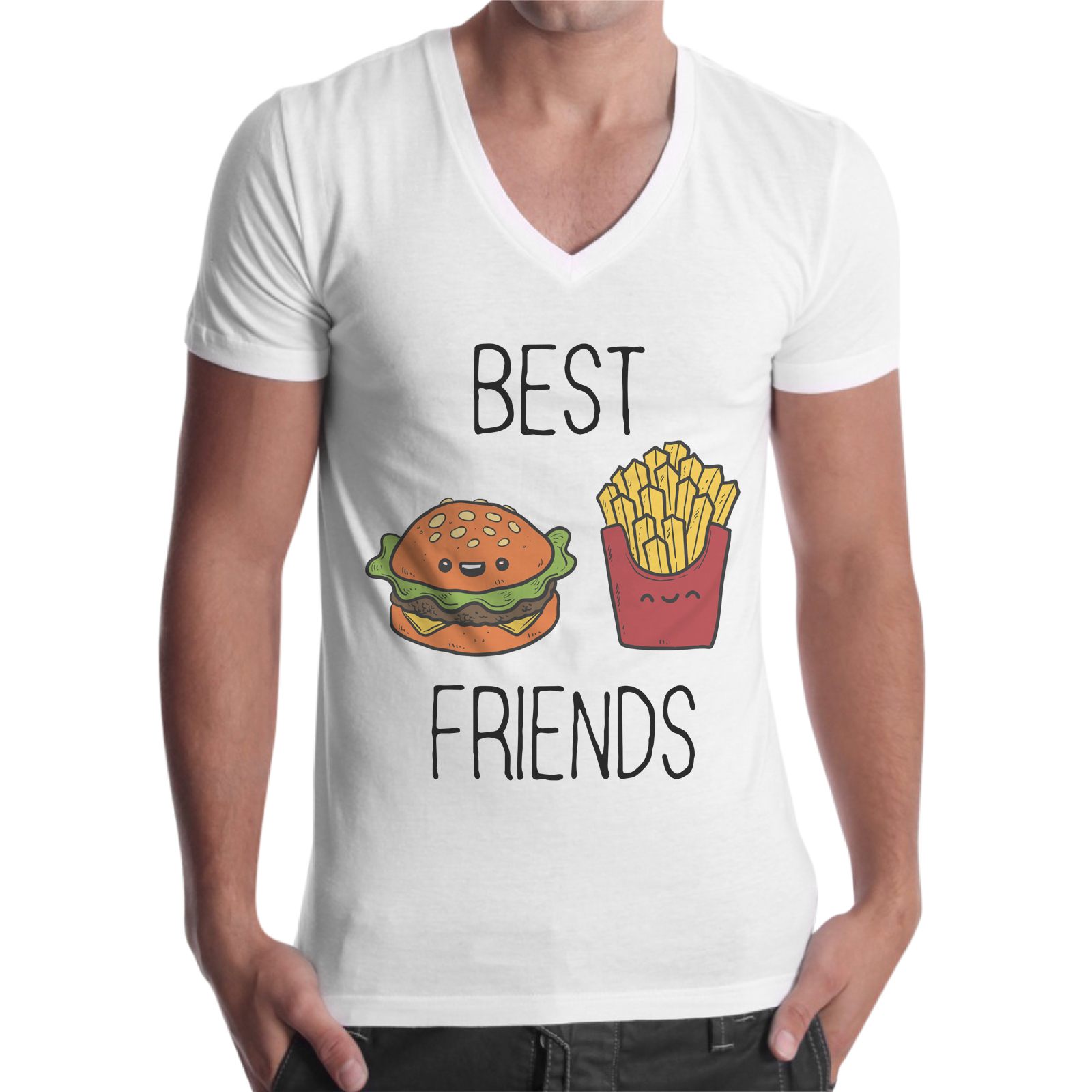 T-Shirt Uomo Scollo V BEST FRIENDS MENU