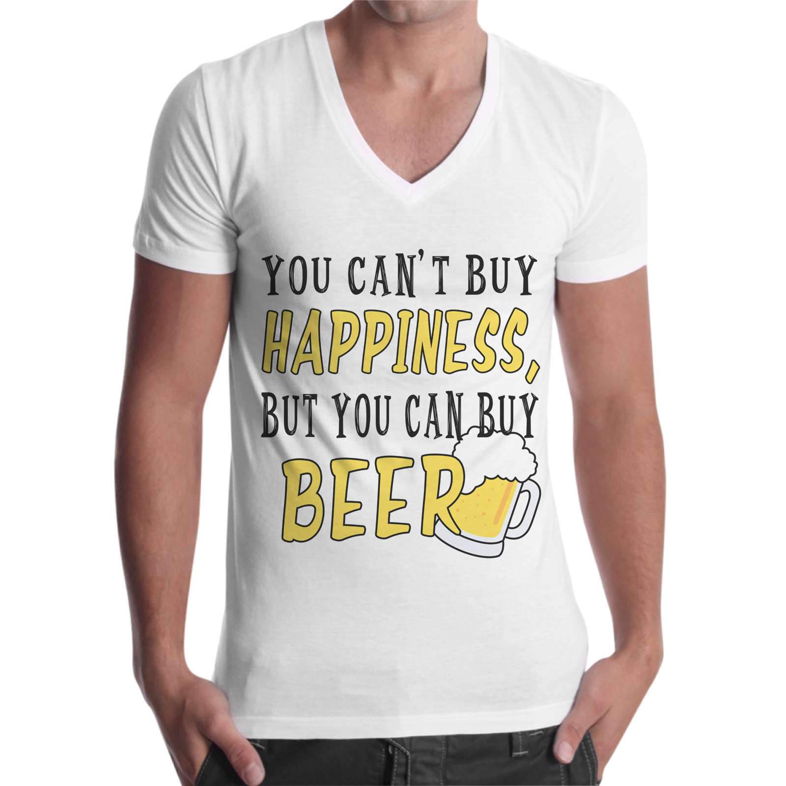 T-Shirt Uomo Scollo V CAN BUY BEER