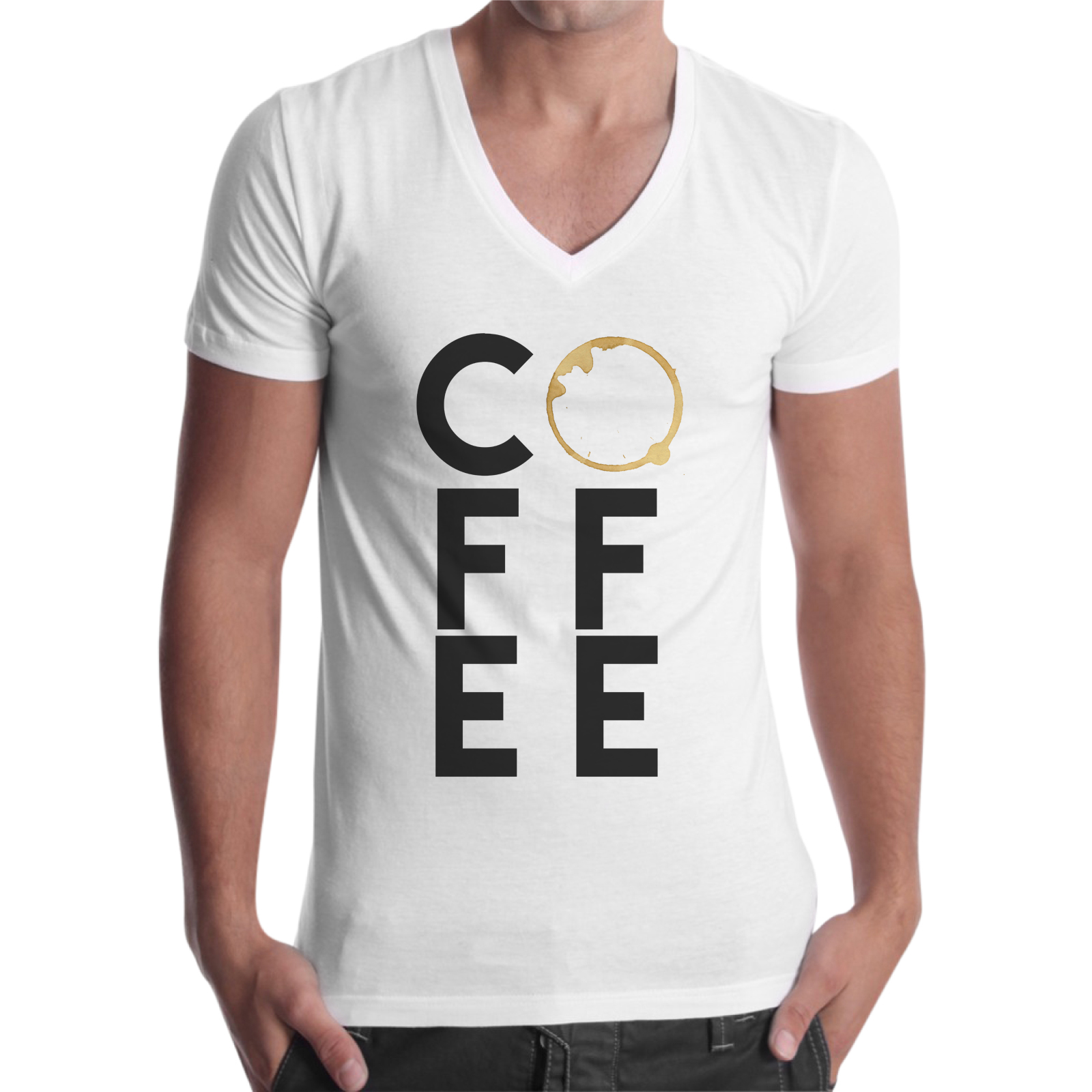 T-Shirt Uomo Scollo V COFFEE