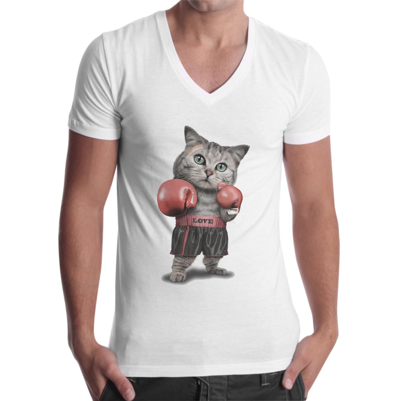 T-Shirt Uomo Scollo V GATTO BOXE