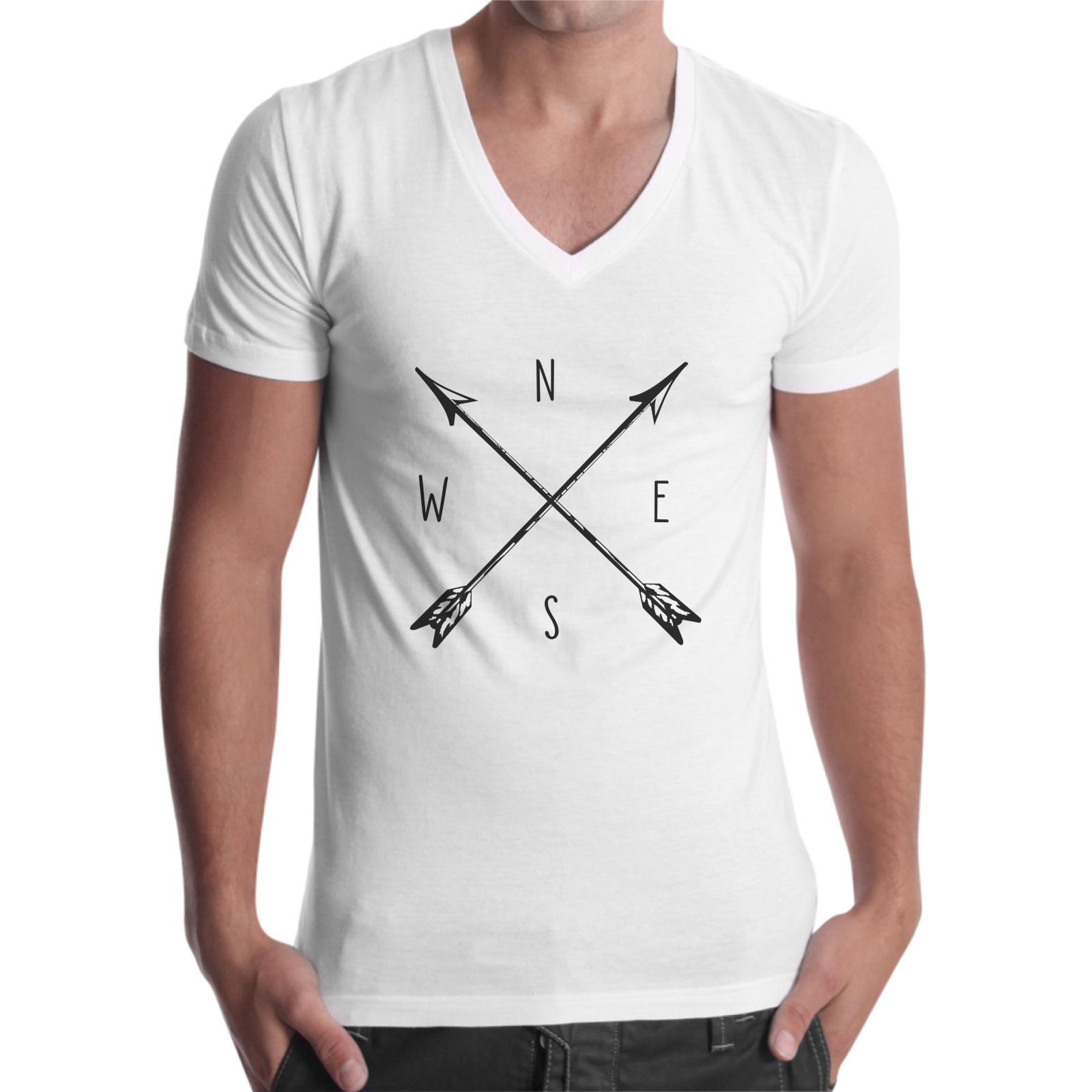 T-Shirt Uomo Scollo V BUSSOLA VINTAGE