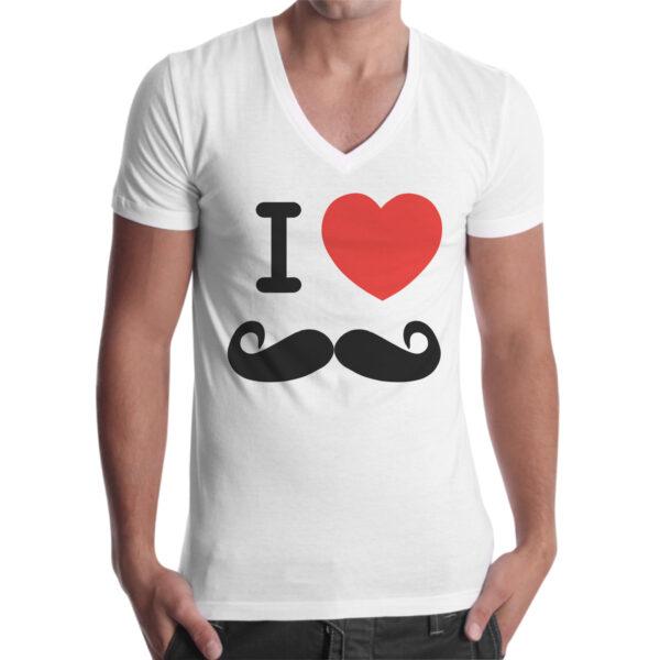 T-Shirt Uomo Scollo V LOVE MUSTACHE
