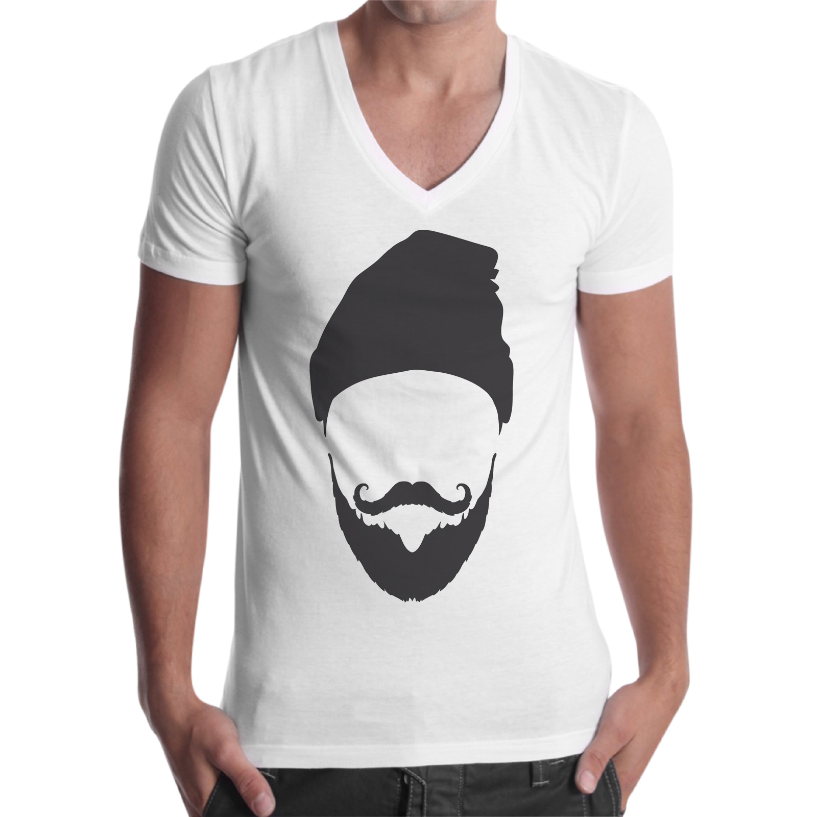 T-Shirt Uomo Scollo V CAPPELLO BARBA