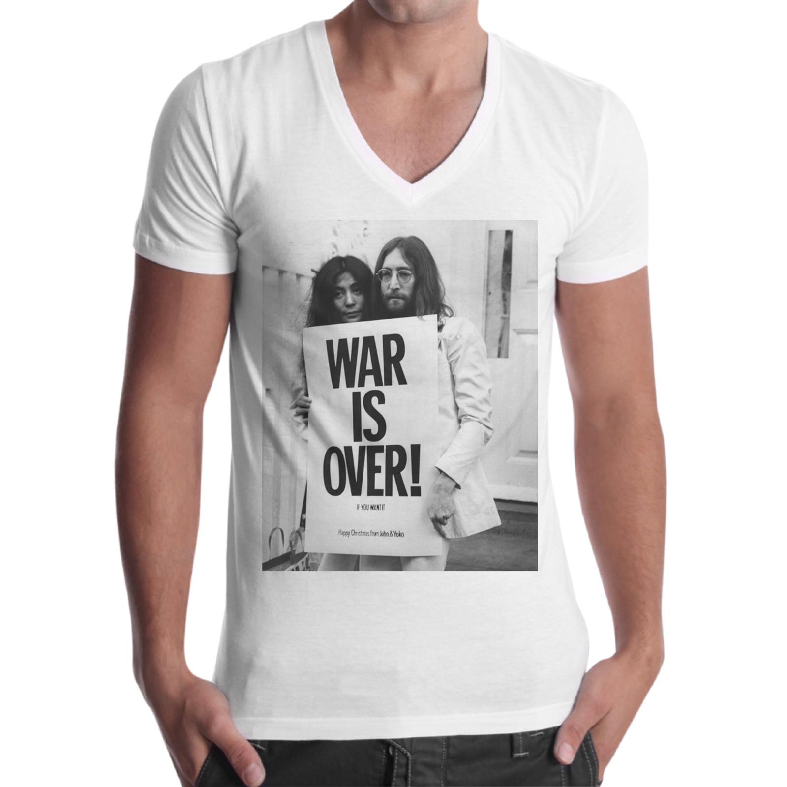 T-Shirt Uomo Scollo V WAR IS OVER